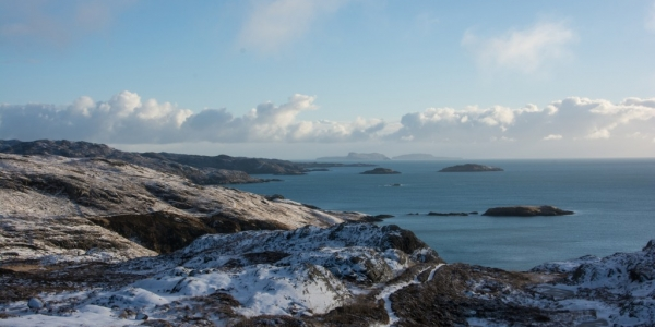 View on to the Shiant islands from the Rhenigidale to Urgha coastal path